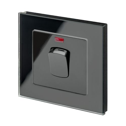 RetroTouch 20 Amp Double Pole Heater Switch Black Glass PG 01726